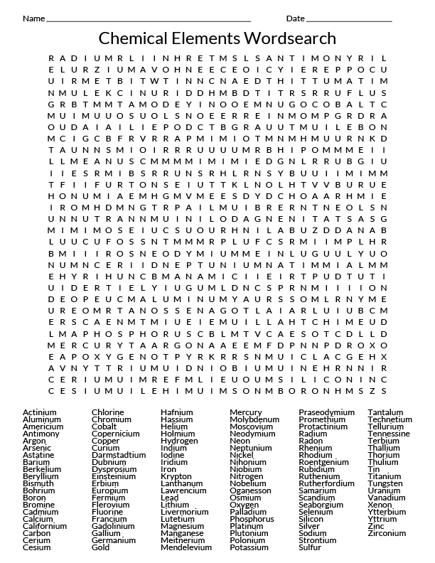 Element Word Search Activity - Science Notes and Projects